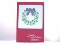 Weihnachtskarte -Türkranz- rosenrot Bild 1