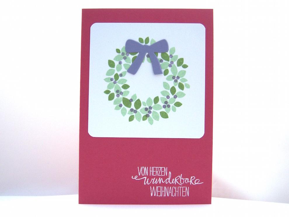 Weihnachten - Weihnachtskarte -Türkranz- rosenrot Bild 1