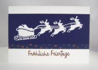 Weihnachtskarte fliegender Schlitten Bild 1