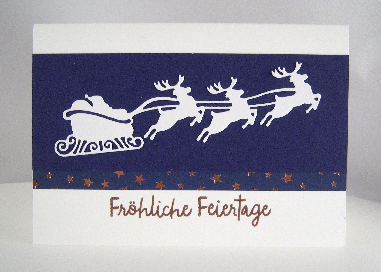 Weihnachten - Weihnachtskarte fliegender Schlitten Bild 1