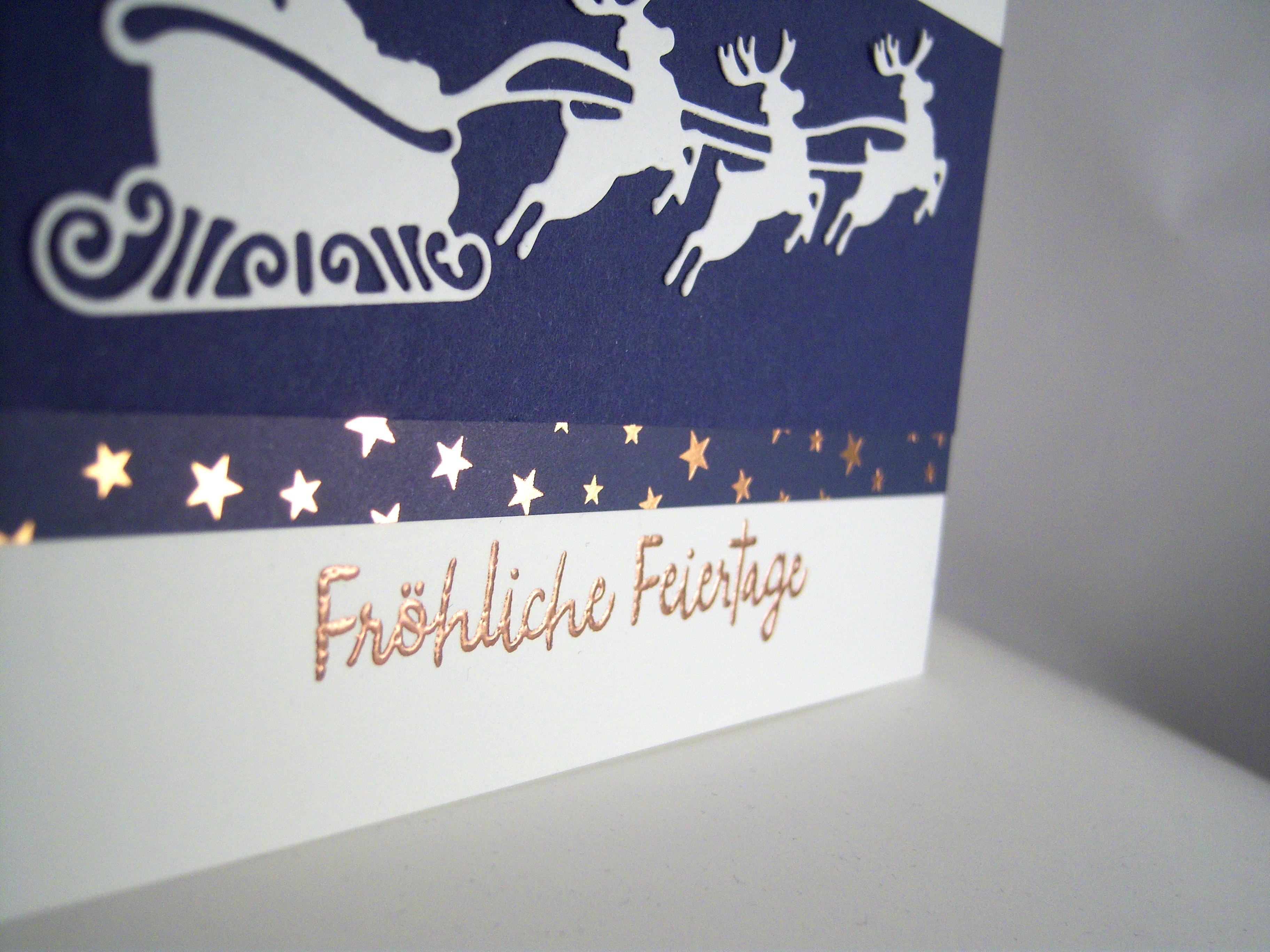 Weihnachtskarte fliegender Schlitten Bild 2