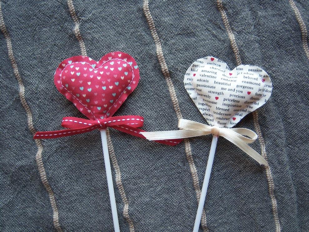 Valentinstag, Genähtes - Blumenstecker zum Valentinstag Herz genaeht