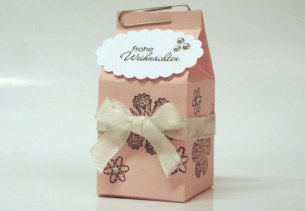 Weihnachten, Verpackungen - Weihnachtsverpackung kleiner Milchkarton rosa
