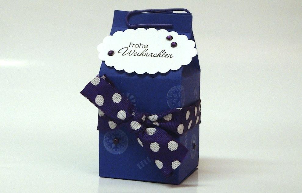 Weihnachten, Verpackungen - Weihnachtsverpackung kleiner Milchkarton lila