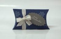 Weihnachtsverpackung Kissenverpackung blau weiss