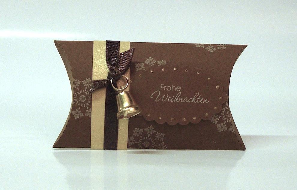 Weihnachten, Verpackungen - Weihnachtsverpackung Kissenverpackung braun gold