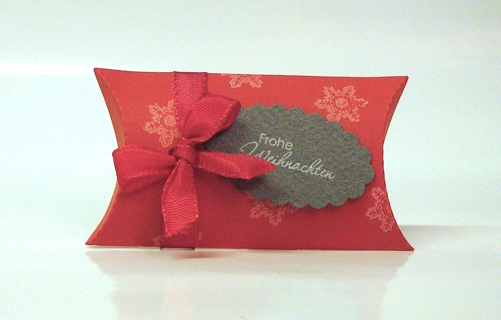 Weihnachten, Verpackungen - Weihnachtsverpackung Kissenverpackung rot