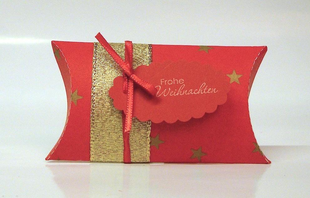 Weihnachten, Verpackungen - Weihnachtsverpackung Kissenverpackung rot gold