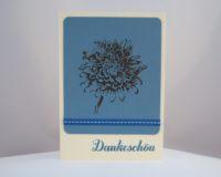 Dankeskarte Blume blau