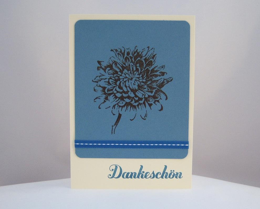 Sonstiges - Dankeskarte Blume blau