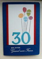 Geburtstagskarte 30ter Geburtstag Ballons