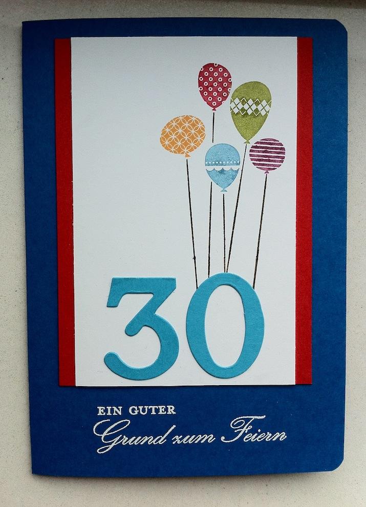Geburtstag - Geburtstagskarte 30ter Geburtstag Ballons