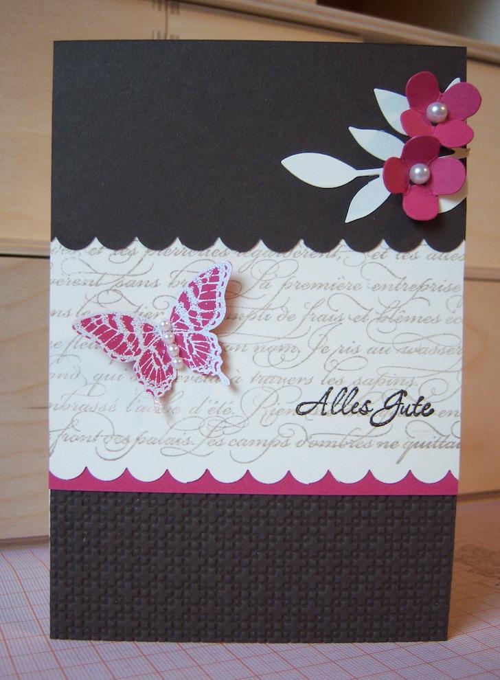Geburtstag - Geburtstagskarte Alles Gute Schmetterling braun pink 1
