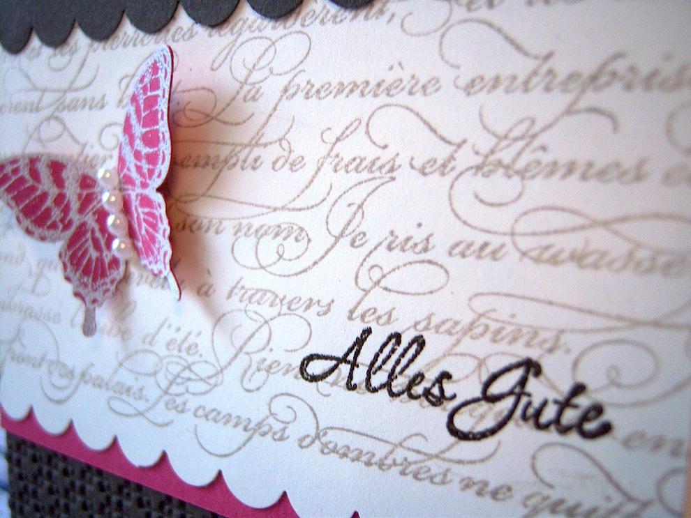 Geburtstagskarte Alles Gute Schmetterling braun pink 2