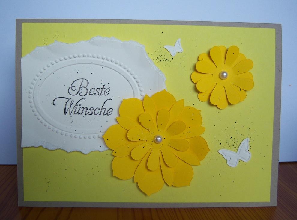 Geburtstag - Geburtstagskarte Beste Wuensche Blumen gelb