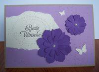 Geburtstagskarte Beste Wuensche Blumen lila