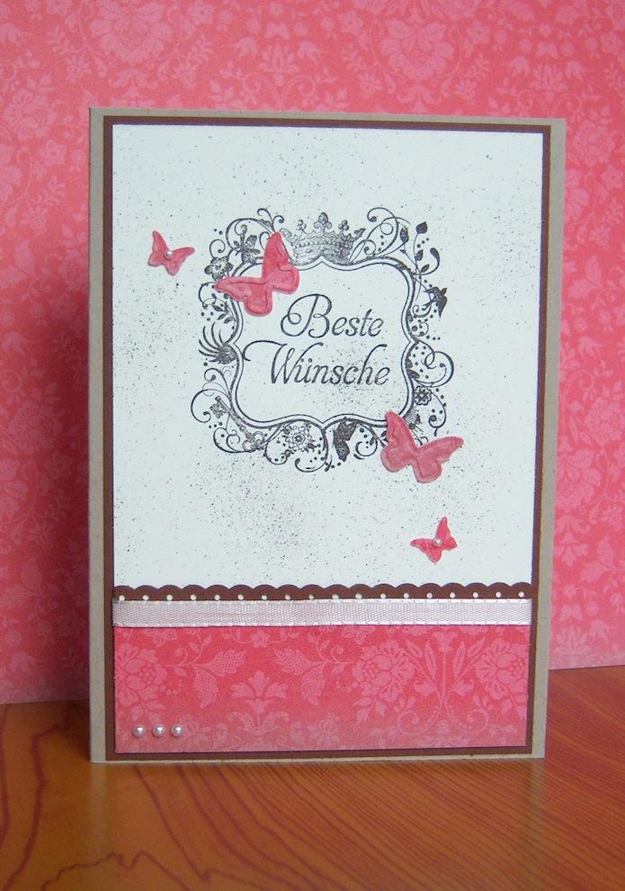 Geburtstagskarte Beste Wuensche Schmetterlinge rosa