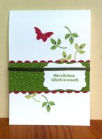 Geburtstagskarte Blätter Schmetterling