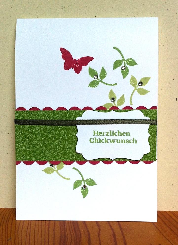Geburtstag - Geburtstagskarte Blätter Schmetterling