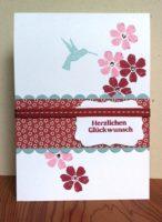 Geburtstagskarte Blumen Vogel