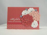 Geburtstagskarte Blumen morgenrot