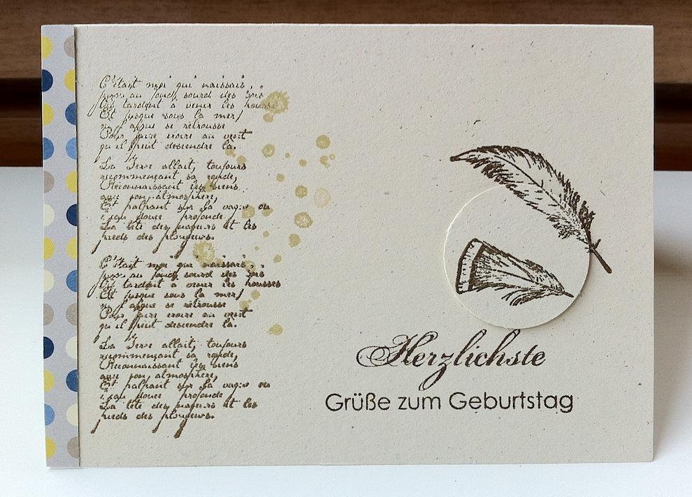 Geburtstag - Geburtstagskarte Federn
