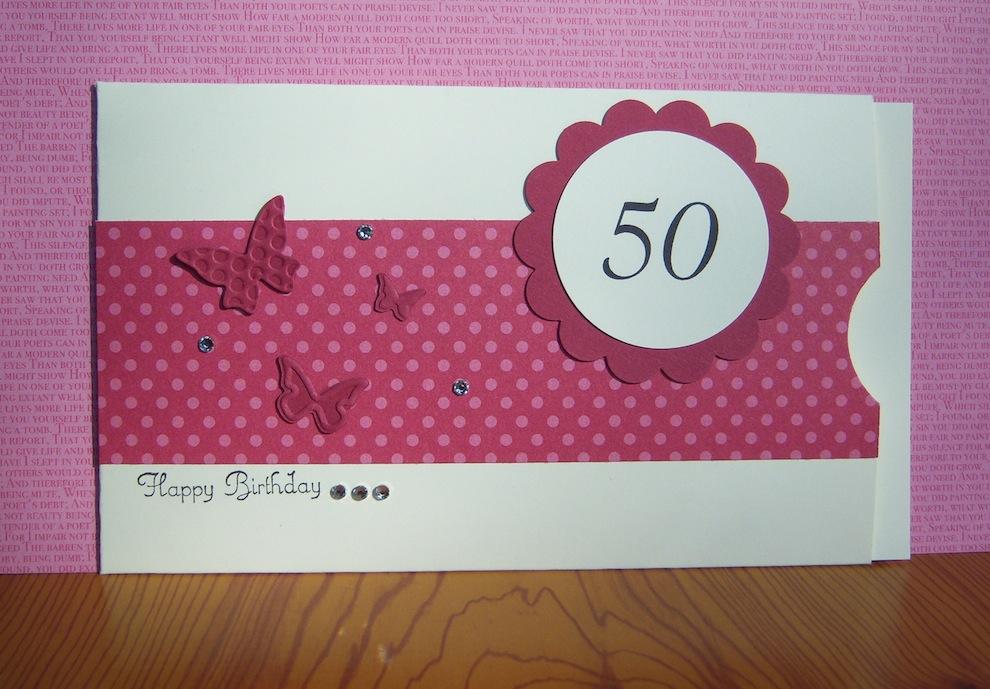 Geburtstagskarte Gutscheintasche Punkte Schmetterlinge rosa