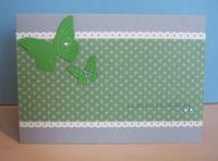 Geburtstagskarte Punkte Schmetterlinge grün
