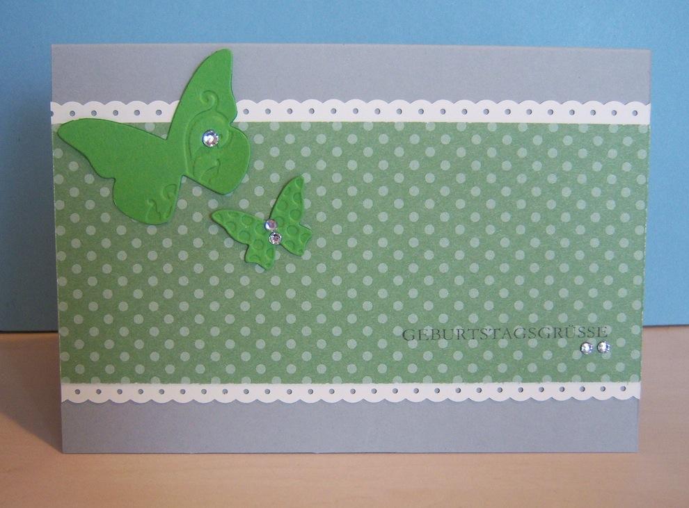 Geburtstag - Geburtstagskarte Punkte Schmetterlinge grün