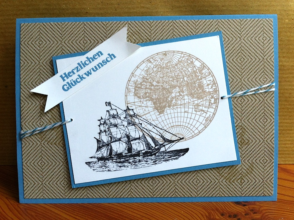 Geburtstag - Geburtstagskarte Schiff Globus
