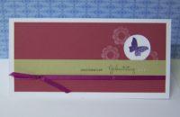 Geburtstagskarte Schmetterling himbeerrot