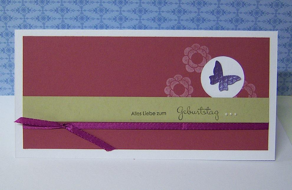 Geburtstag - Geburtstagskarte Schmetterling himbeerrot