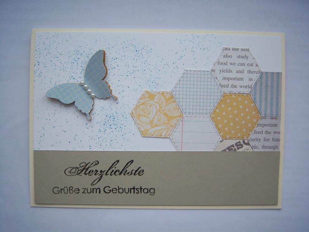 Geburtstag - Geburtstagskarte Schmetterling pastell