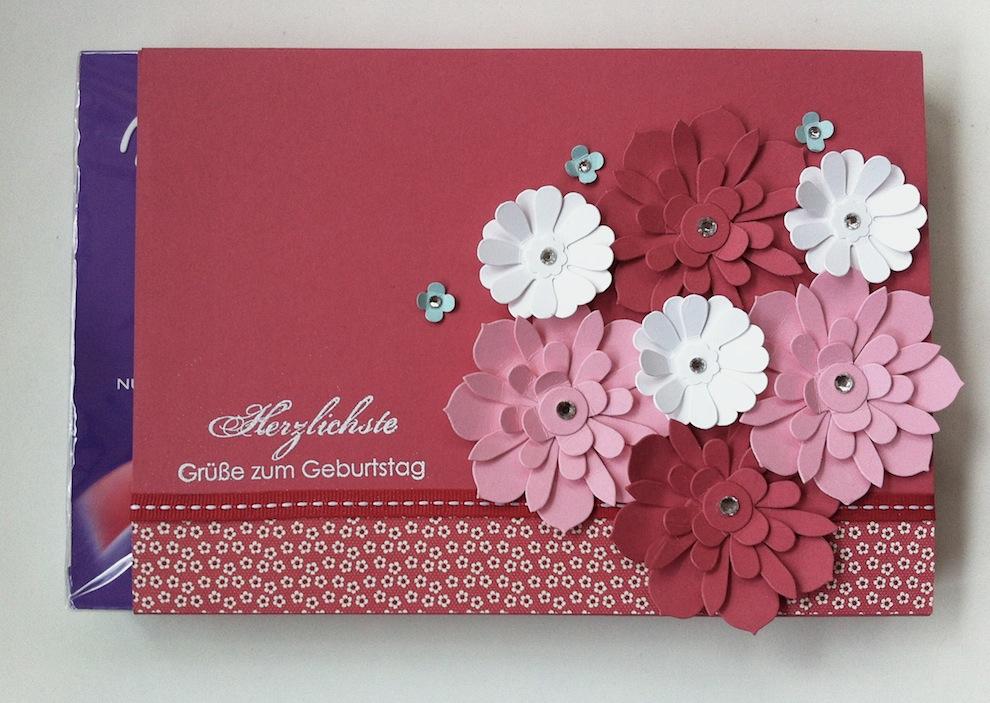 Geburtstagskarte Verpackung Buch Blumen 2