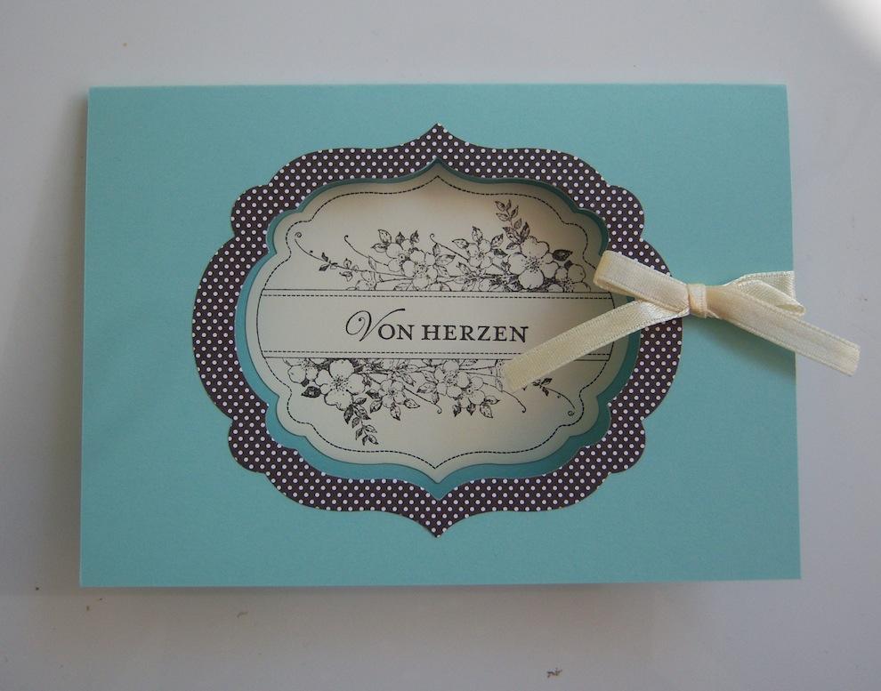 Geburtstag - Geburtstagskarte Von Herzen Aquamarin