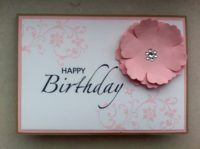 Geburtstagskarte grosse Blume rosa