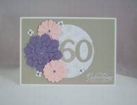 Geburtstagskarte zum 60. Blumen