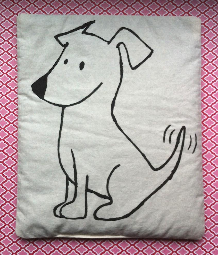 Genähtes - Genaehtes Traubenkernkissen Frecher Terrier