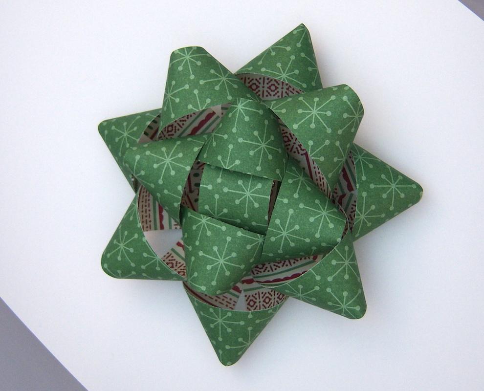 Verpackungen - Geschenkschleife X-Mas grün 13cm