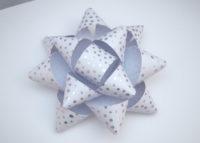 Geschenkschleife silber-weiß 13cm