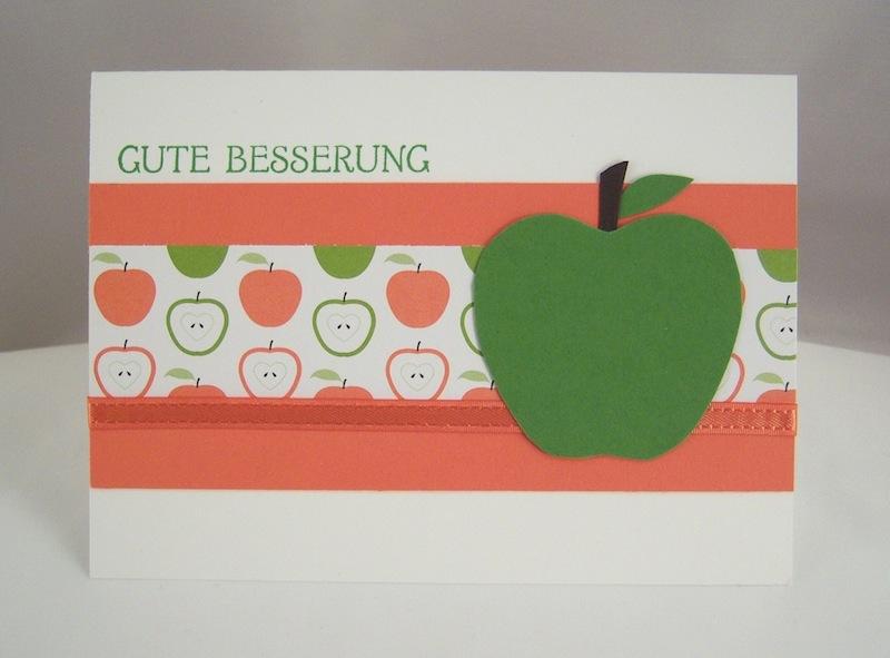 Sonstiges - Grußkarte Apfel Gute Besserung