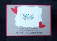 Grußkarte Bilderrahmen Voegel Herzen