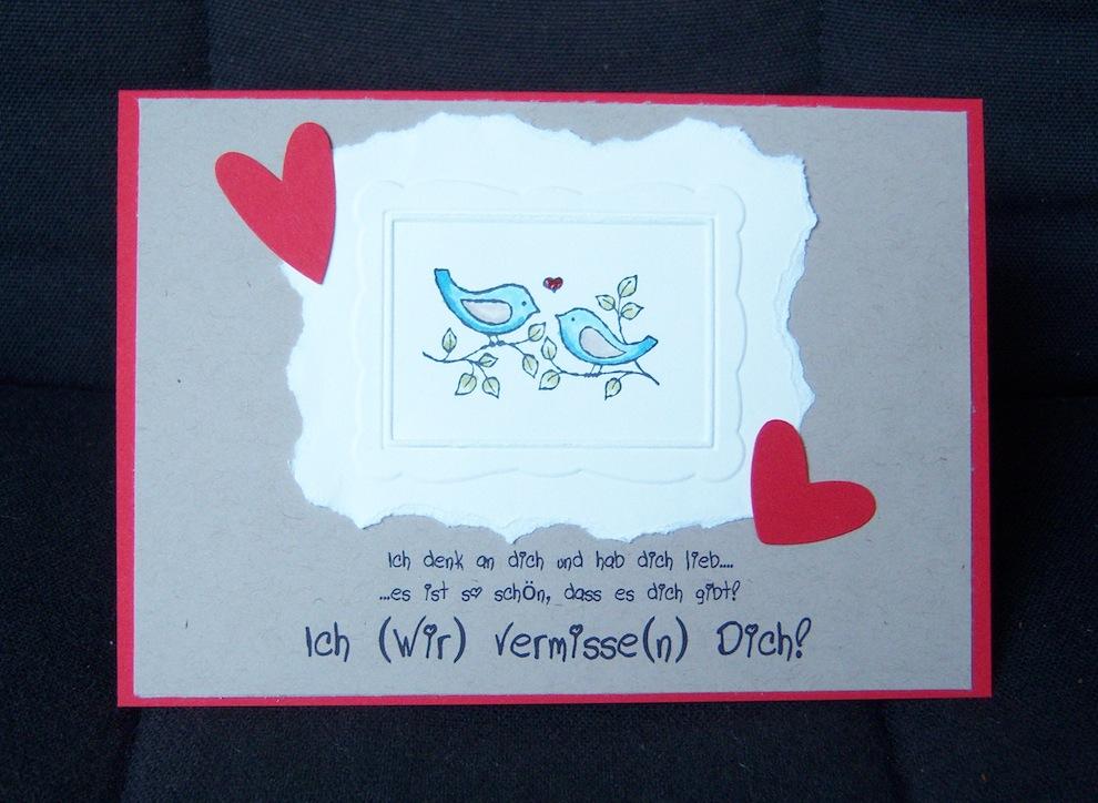 Sonstiges - Grußkarte Bilderrahmen Voegel Herzen