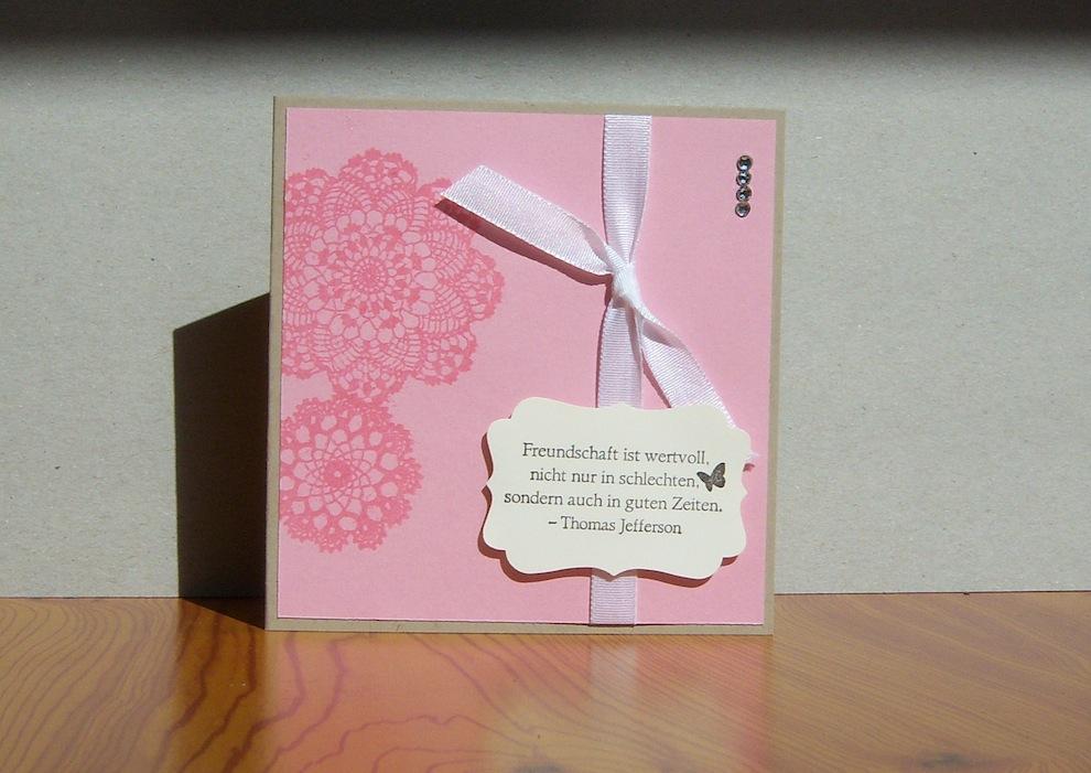 Sonstiges - Grußkarte Freundschaft rosa