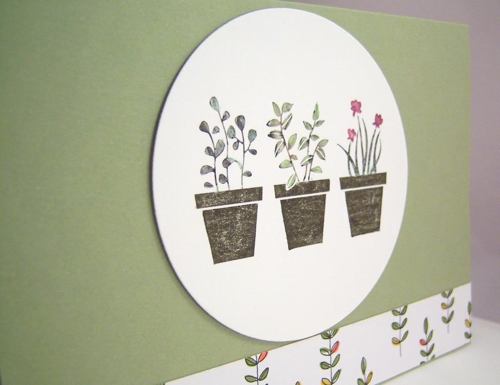 Grusskarte Blumentöpfe 2