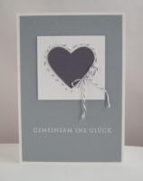 Hochzeitskarte Gemeinsam ins Glück Herz grau