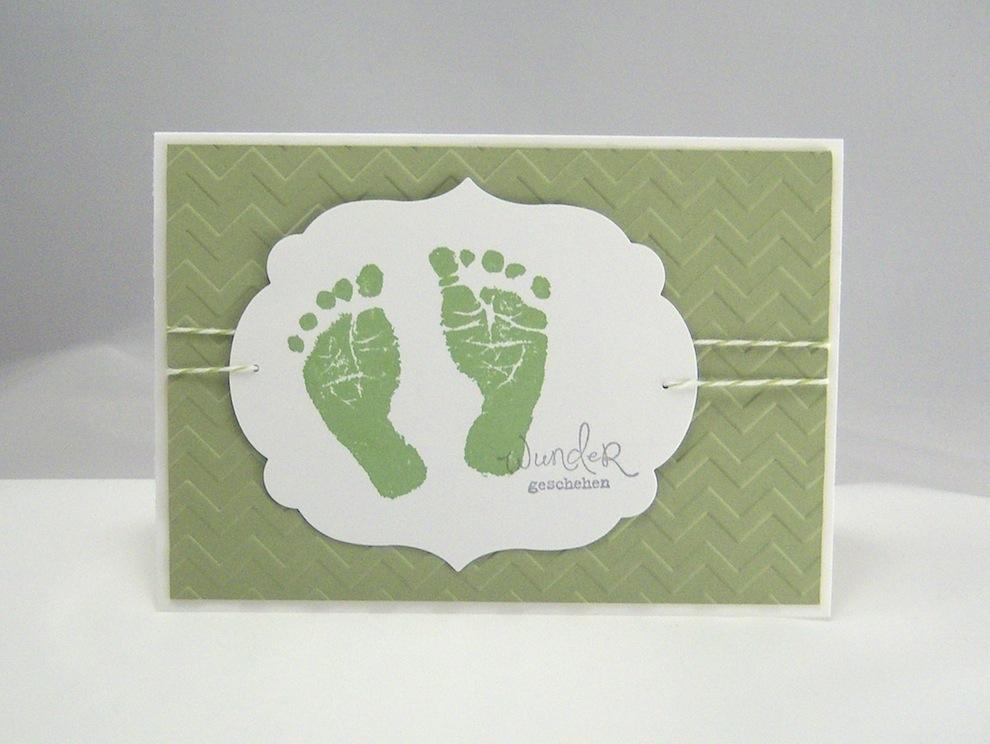 Geburt / Taufe - Karte zur Geburt Wunder geschehen grün