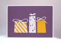 Karte zum Geburtstag Geschenke gelb 1