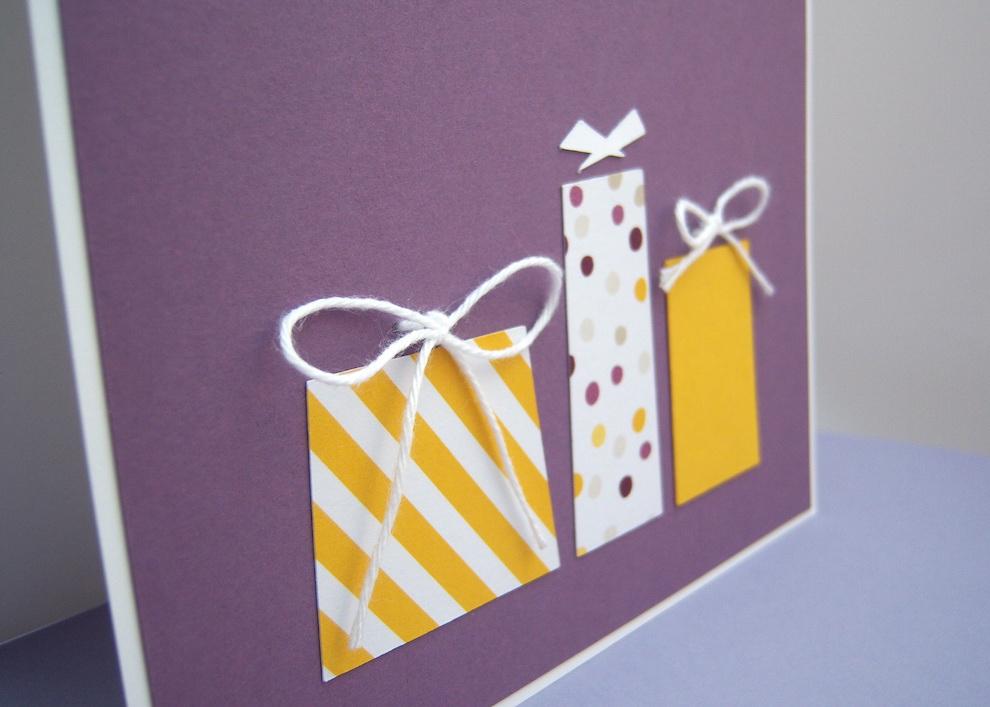 Karte zum Geburtstag Geschenke gelb 2
