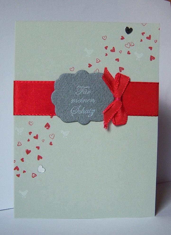 Valentinstag - Karte zum Valentinstag Schatz Herzen